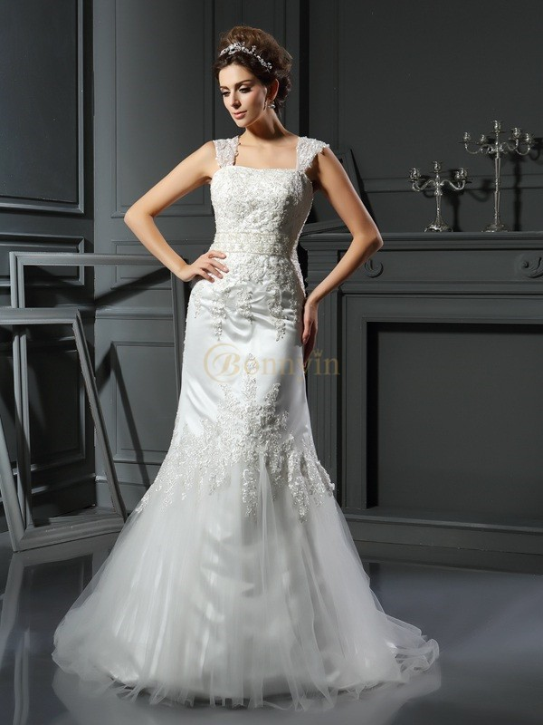 Ivory Satin Straps Trumpet/Mermaid Court Train Wedding Dresses