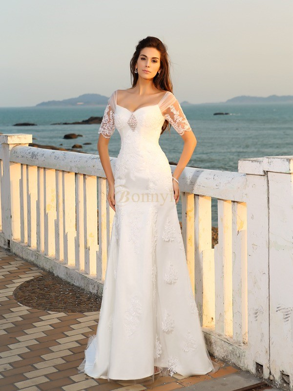 Ivory Satin Sweetheart Sheath/Column Floor-Length Wedding Dresses