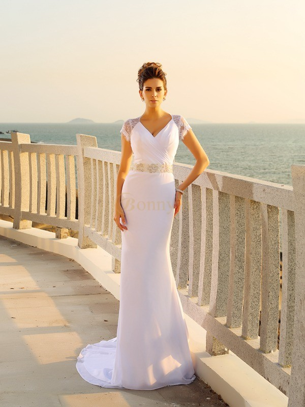 White Chiffon V-neck Sheath/Column Court Train Wedding Dresses