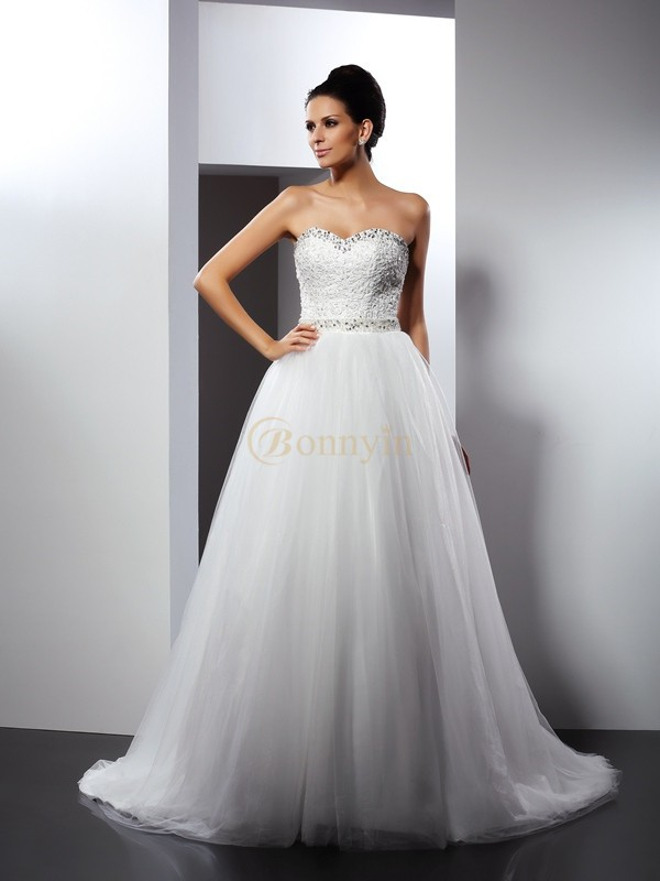 Ivory Tulle Spaghetti Straps A-Line/Princess Chapel Train Wedding Dresses