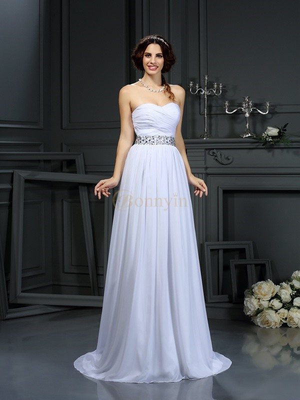 White Chiffon Sweetheart A-Line/Princess Court Train Wedding Dresses