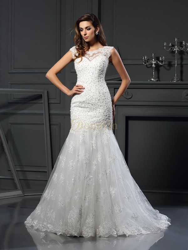 Ivory Tulle Scoop Trumpet/Mermaid Chapel Train Wedding Dresses