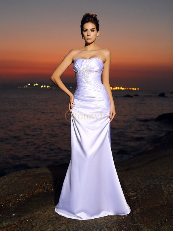 White Satin Sweetheart Trumpet/Mermaid Chapel Train Wedding Dresses