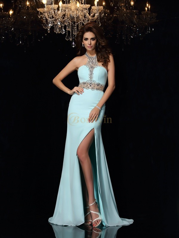 Blue Chiffon High Neck Sheath/Column Sweep/Brush Train Prom Dresses