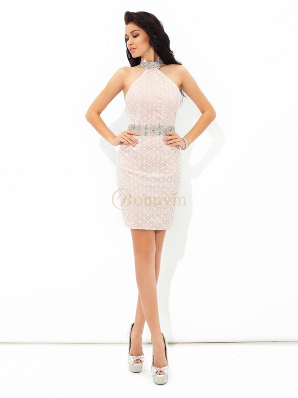Champagne Satin Halter Sheath/Column Short/Mini Cocktail Dresses