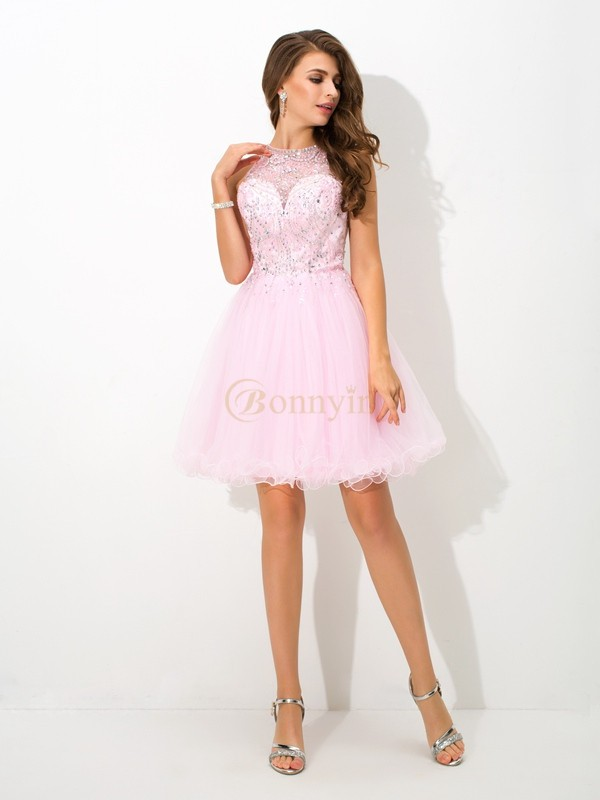 Pink Net Sheer Neck A-Line/Princess Short/Mini Cocktail Dresses