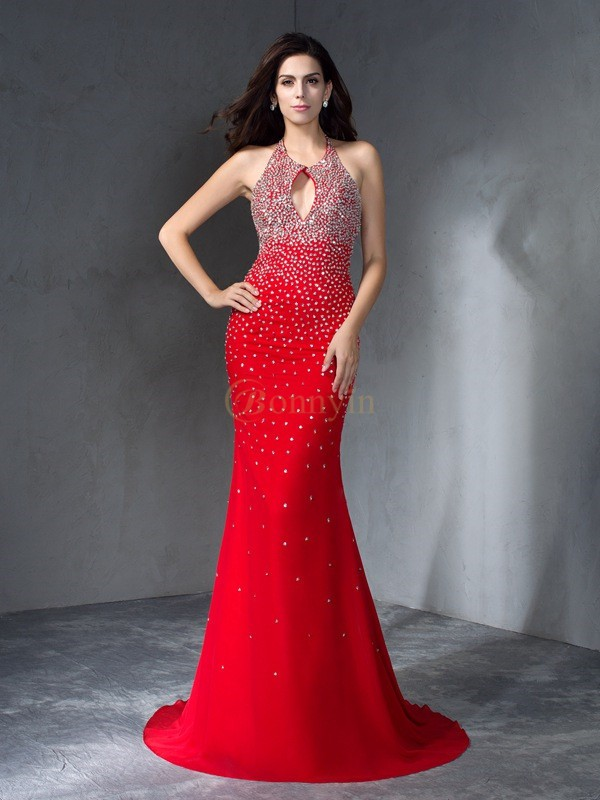 Red Chiffon Halter Trumpet/Mermaid Sweep/Brush Train Prom Dresses