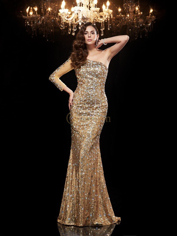 Gold Sequins One-Shoulder Trumpet/Mermaid Floor-Length Evening Dresses