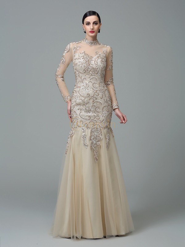 Champagne Net High Neck Sheath/Column Floor-Length Evening Dresses