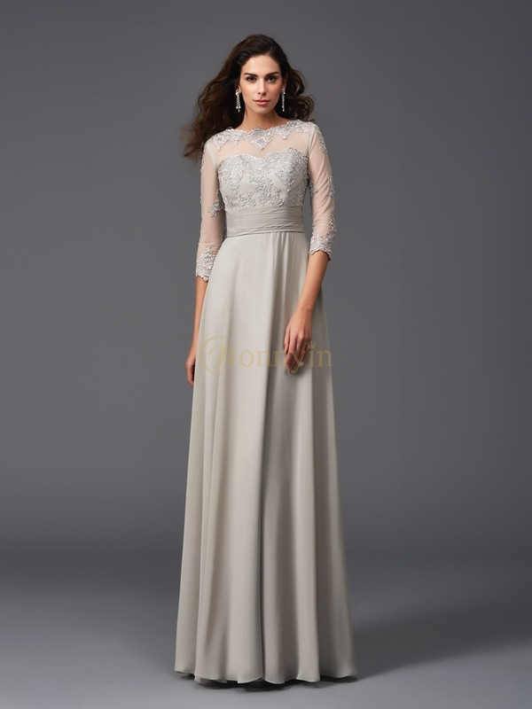 Silver Chiffon Scoop A-Line/Princess Floor-Length Evening Dresses