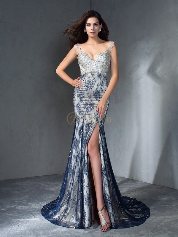 Lace V-neck Trumpet/Mermaid Sweep/Brush Train Prom Dresses