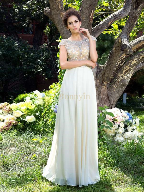 White Chiffon Sheer Neck A-Line/Princess Sweep/Brush Train Prom Dresses