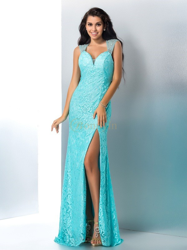 Blue Lace Sweetheart Trumpet/Mermaid Floor-Length Prom Dresses