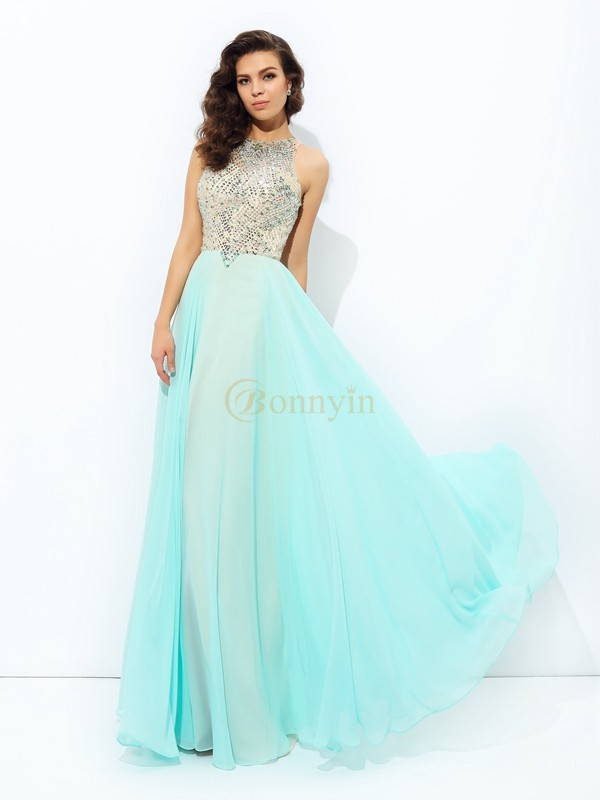 Light Sky Blue Chiffon Jewel A-line/Princess Floor-Length Prom Dresses