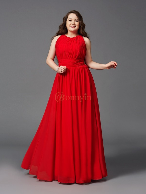 Red Chiffon Jewel A-Line/Princess Floor-Length Prom Dresses