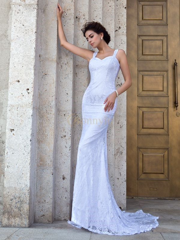 Ivory Lace Straps Sheath/Column Court Train Wedding Dresses