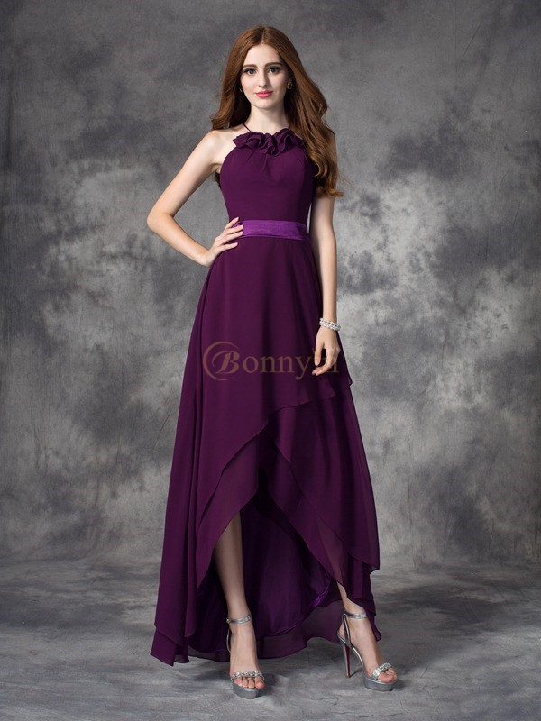 Grape Chiffon Halter A-line/Princess Asymmetrical Bridesmaid Dresses