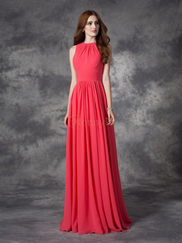 Red Chiffon Jewel A-line/Princess Floor-length Bridesmaid Dresses
