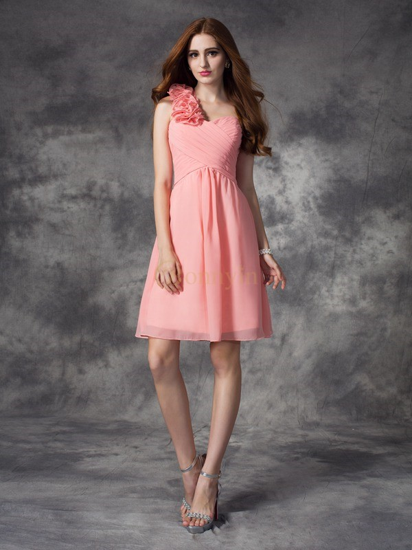 Pink Chiffon One-Shoulder A-line/Princess Short/Mini Bridesmaid Dresses