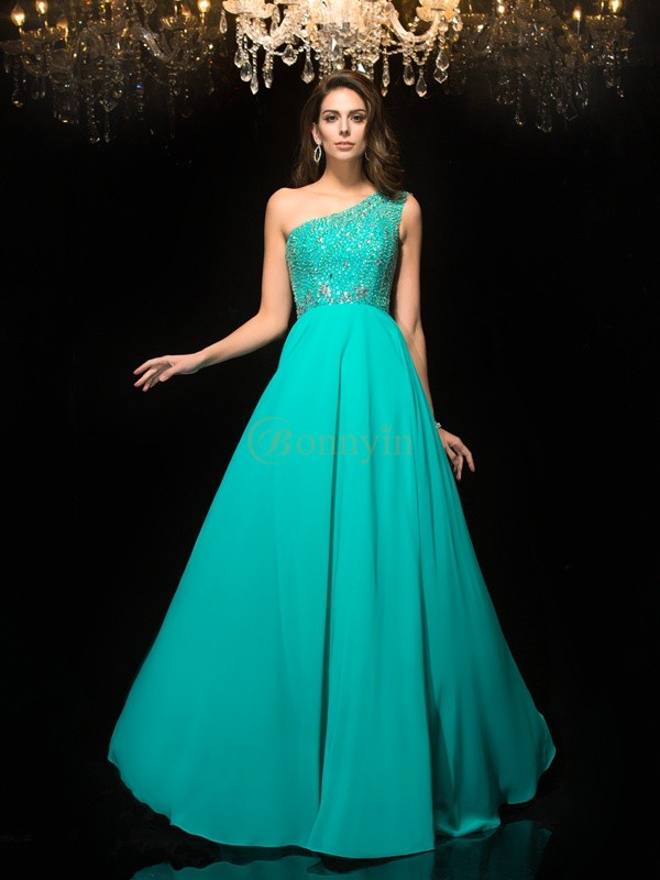 Blue Chiffon One-Shoulder A-Line/Princess Floor-Length Prom Dresses