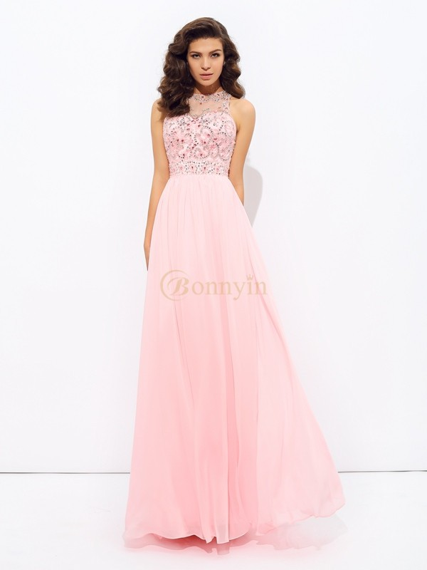 Pink Chiffon Jewel A-line/Princess Floor-Length Prom Dresses