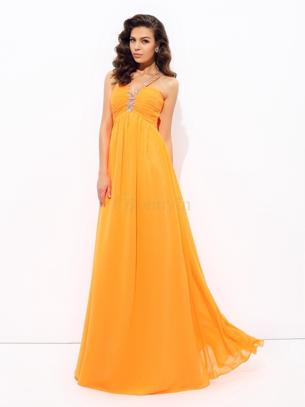 Orange Chiffon V-neck A-line/Princess Floor-Length Prom Dresses