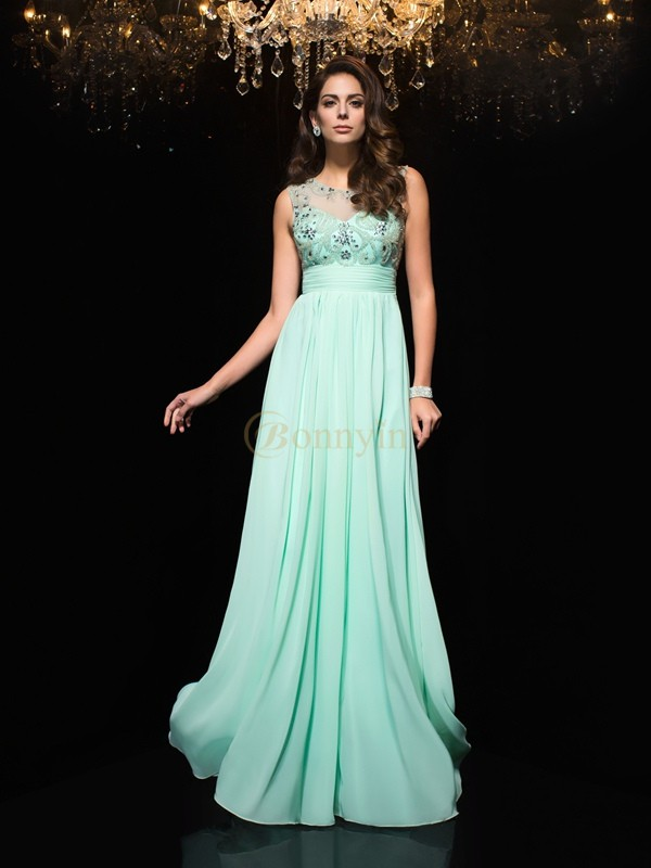 Sage Chiffon Sheer Neck A-Line/Princess Floor-Length Prom Dresses