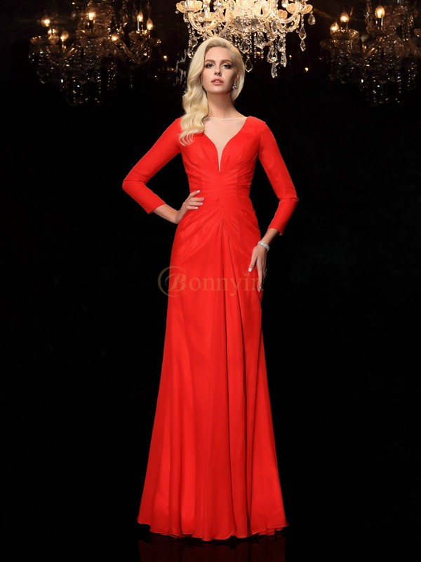 Red Chiffon Bateau Sheath/Column Floor-Length Prom Dresses