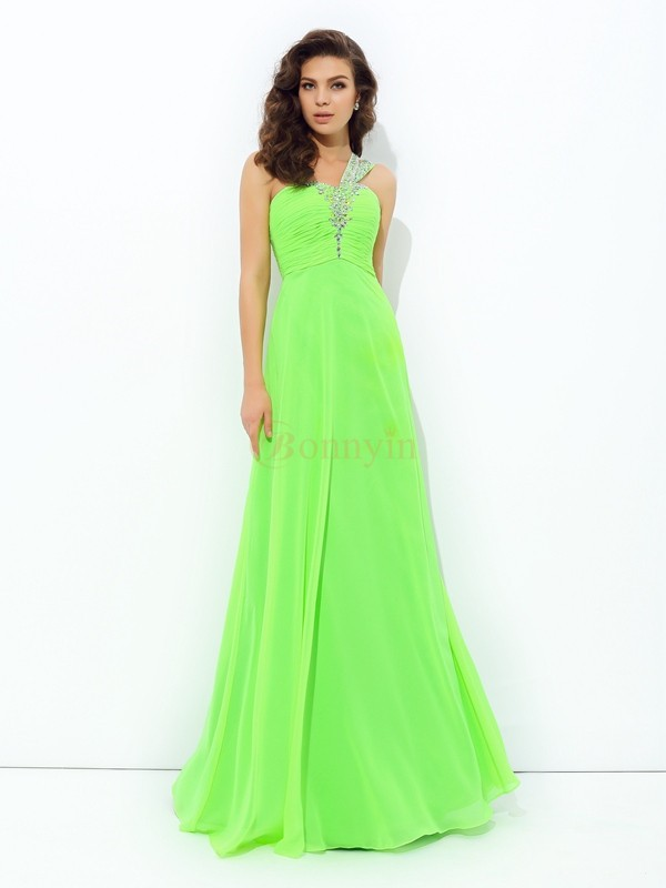 Green Chiffon One-Shoulder A-line/Princess Floor-Length Prom Dresses