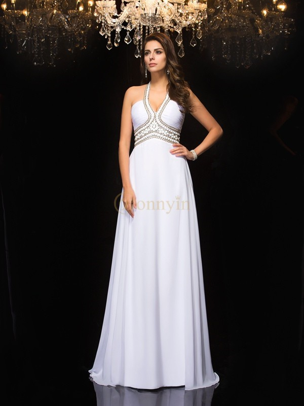White Chiffon Halter A-Line/Princess Floor-Length Prom Dresses