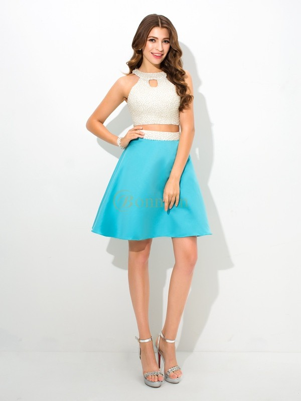 Blue Satin Jersey A-Line/Princess Short/Mini Prom Dresses