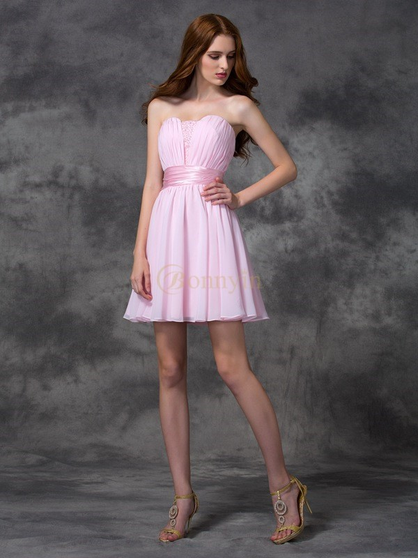 Pink Chiffon Sweetheart A-line/Princess Short/Mini Prom Dresses