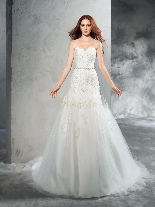 Ivory Satin Sweetheart Sheath/Column Court Train Wedding Dresses