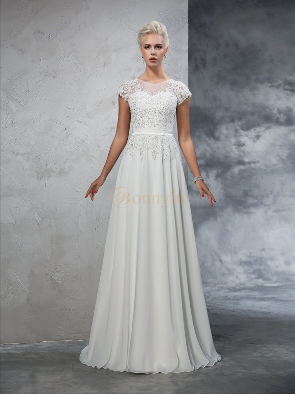 Ivory Chiffon Sheer Neck A-Line/Princess Sweep/Brush Train Wedding Dresses