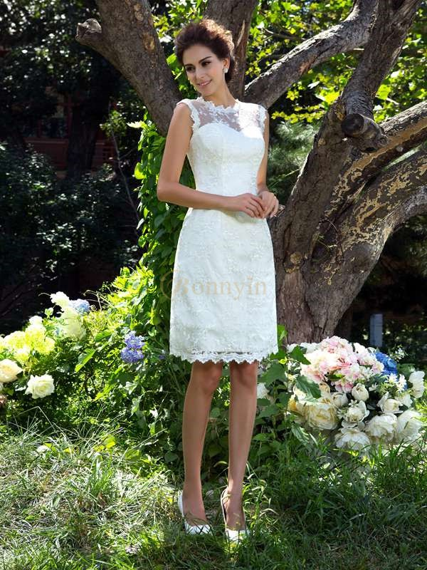 Ivory Satin Sheer Neck A-Line/Princess Knee-Length Wedding Dresses