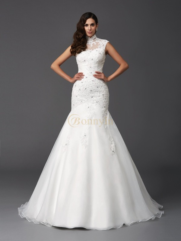 Ivory Organza High Neck Trumpet/Mermaid Sweep/Brush Train Wedding Dresses