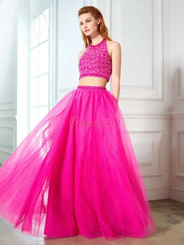 Fuchsia Net Halter A-Line/Princess Floor-Length Prom Dresses