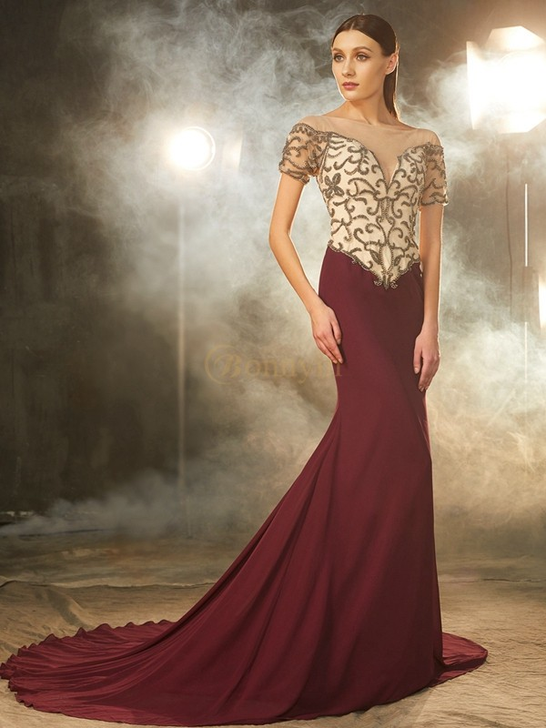 Burgundy Chiffon Sheer Neck Sheath/Column Court Train Prom Dresses