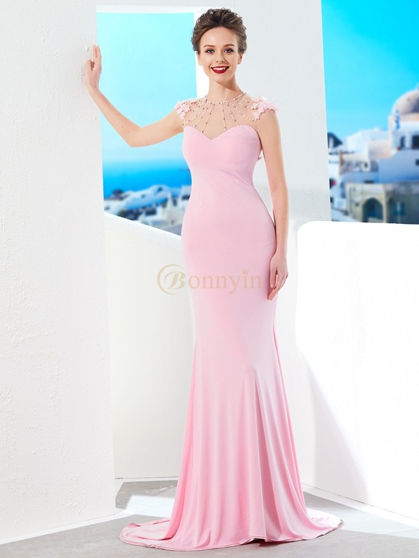 Pearl Pink Spandex Jewel Trumpet/Mermaid Sweep/Brush Train Prom Dresses