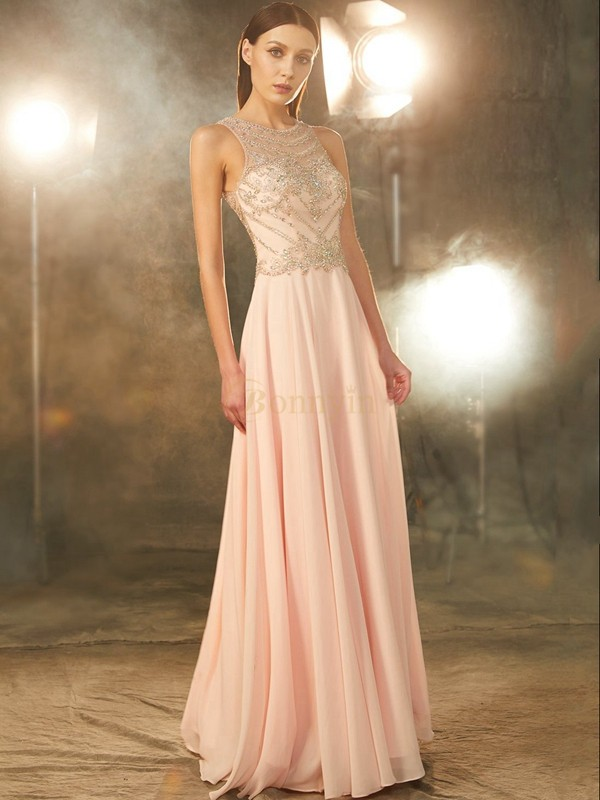 Pearl Pink Chiffon Scoop A-Line/Princess Floor-Length Prom Dresses