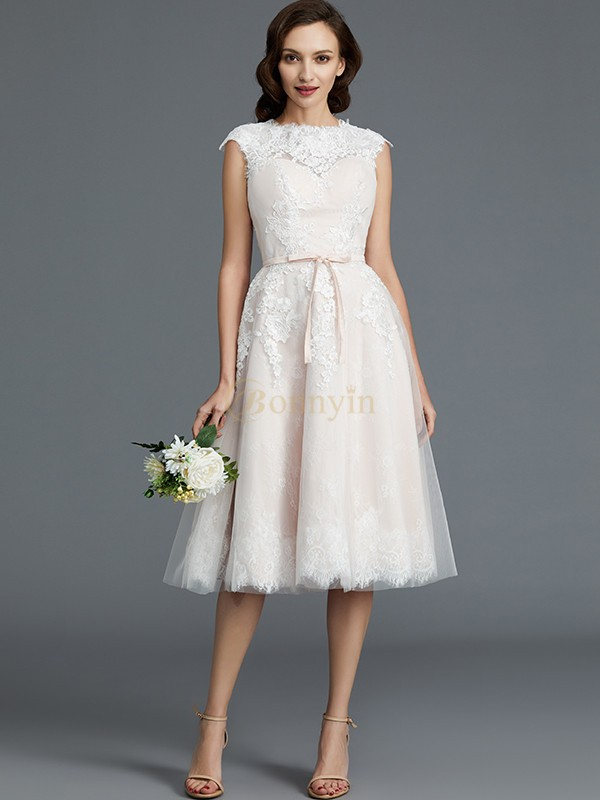 Ivory Tulle Bateau A-Line/Princess Knee-Length Wedding Dresses