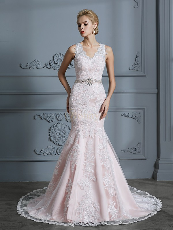 Pink Tulle V-neck Trumpet/Mermaid Court Train Wedding Dresses
