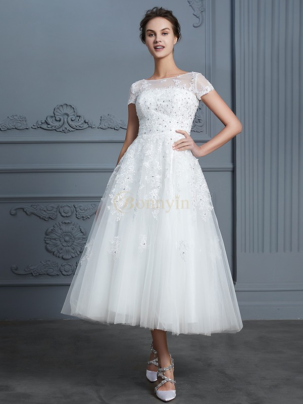 Ivory Tulle Scoop A-Line/Princess Tea-Length Wedding Dresses