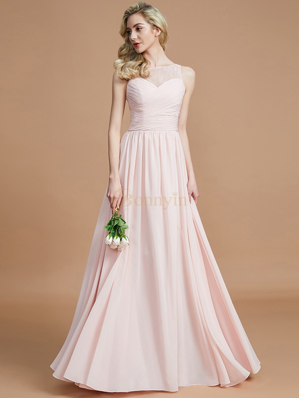 Pearl Pink Chiffon Bateau A-Line/Princess Floor-Length Bridesmaid Dresses