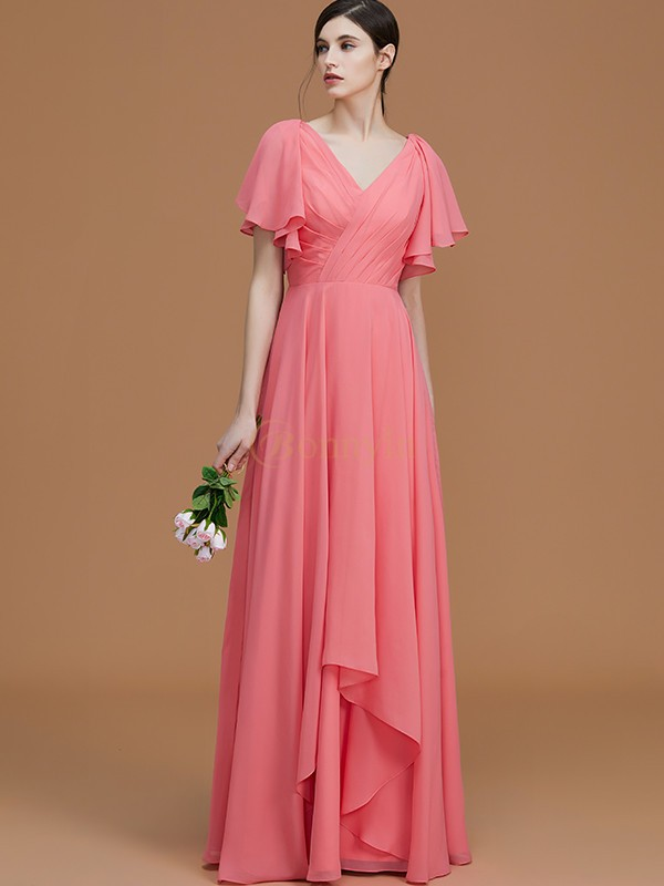 Watermelon Chiffon V-neck A-Line/Princess Floor-Length Bridesmaid Dresses
