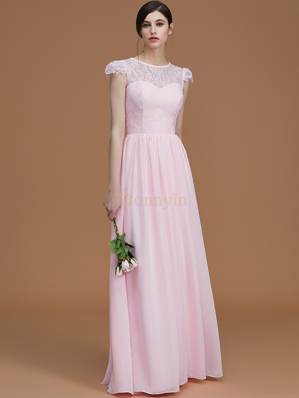Pink Chiffon Jewel A-Line/Princess Floor-Length Bridesmaid Dresses