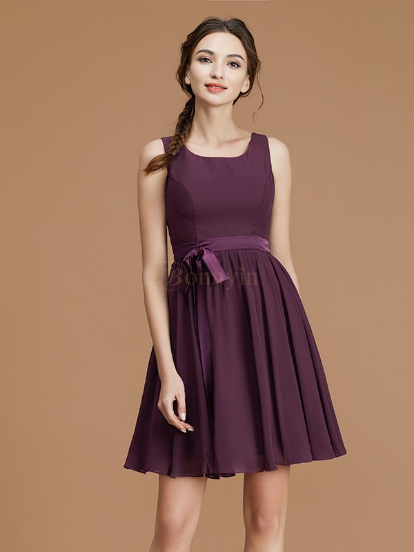 Grape Chiffon Bateau A-Line/Princess Short/Mini Bridesmaid Dresses