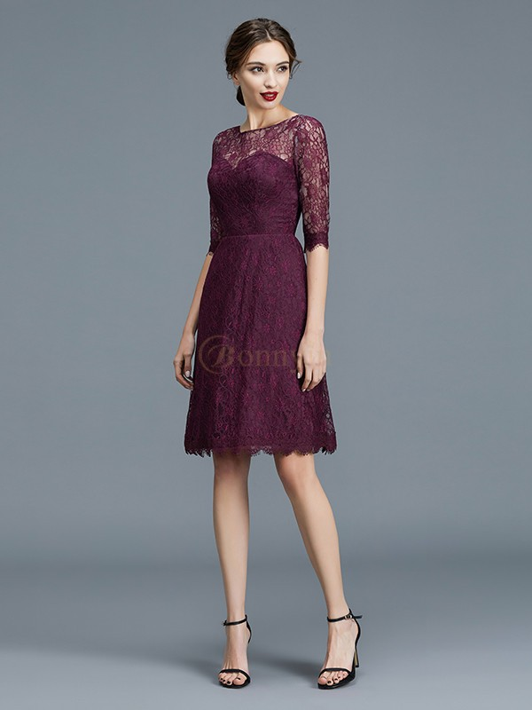 Grape Satin Bateau A-Line/Princess Knee-Length Bridesmaid Dresses