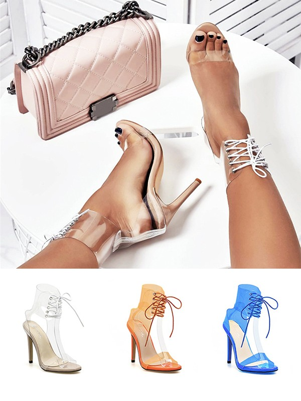 Women's PU Leather Stiletto Heel Peep Toe With Lace Up Sandals