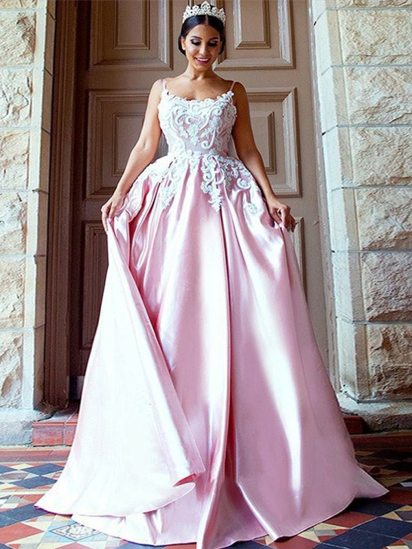 Pink Satin Spaghetti Straps Ball Gown Sweep/Brush Train Dresses
